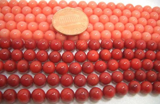 Light Pink and Red 6mm Round Coral Beads on Temporary Strand