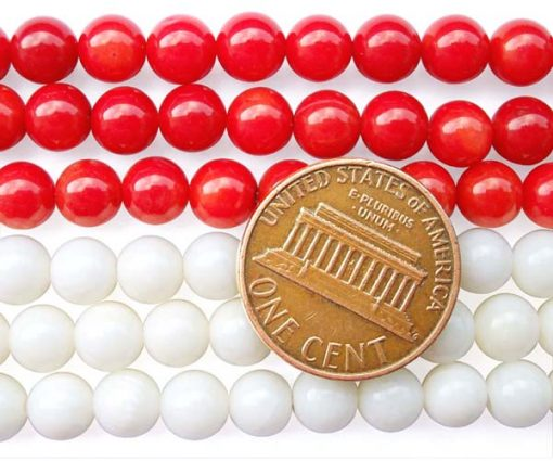 Red and White 6mm Round Coral Beads on Temporary Strand