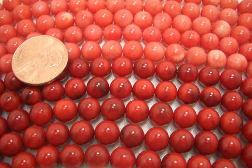 Light Pink and Red 7mm Round Coral Beads on Temporary Strand