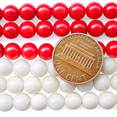 Red and White 7mm Round Coral Beads on Temporary Strand
