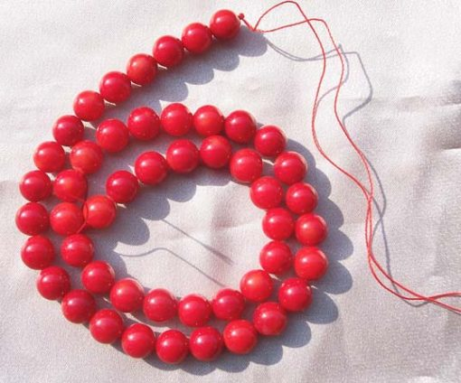 Red 8-9mm Round Coral Beads on Temporary Strand