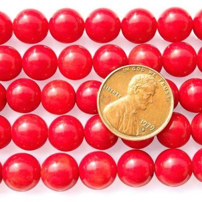 Red 9-10mm Round Coral Beads on Temporary Strand