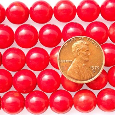 Red 10-11mm Round Coral Beads on Temporary Strand