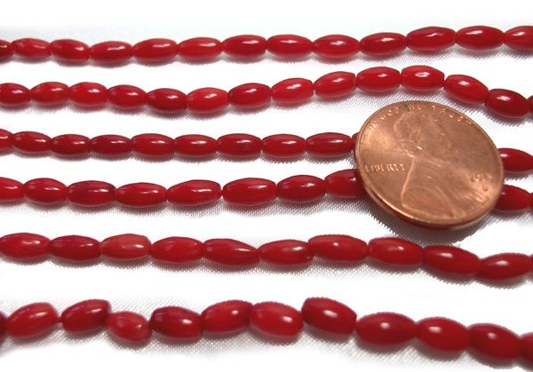 Red Colored Rice Oval Coral Beads
