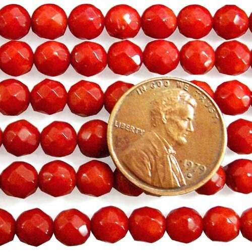 Red 6mm Faceted Round Coral Beads on Temporary Strand