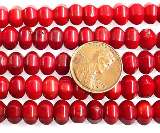 Red 6x8mm Coral Beads on Temporary Strand