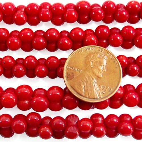 Red 5x8mm Center Drilled Coral in Peanut Shape on Temporary Strand