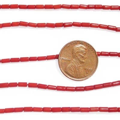 Red 2x4mm Genuine Coral in Tube Shape on Temporary Strand