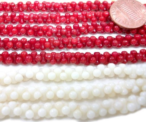 Real Coral Gemstone, Double Sided 3-3.5mm Round Coral Beads