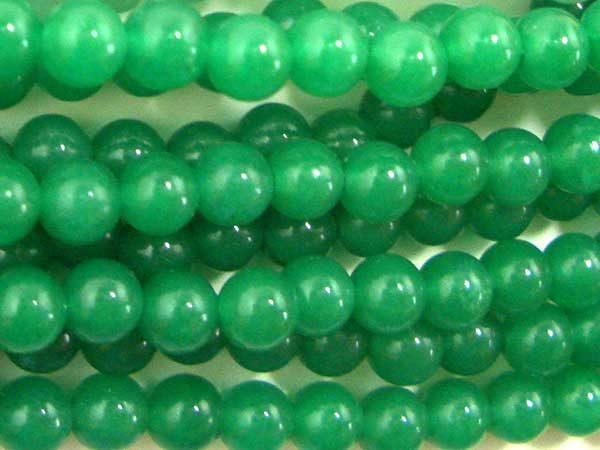Bright Green 4mm Round Jade Beads on Temporary Strand
