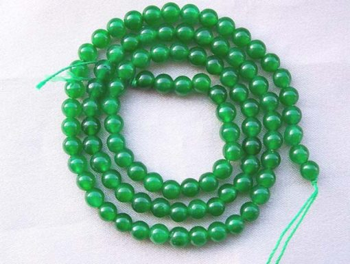 Bright Green 4mm Round Jade Beads on Temporary Strand