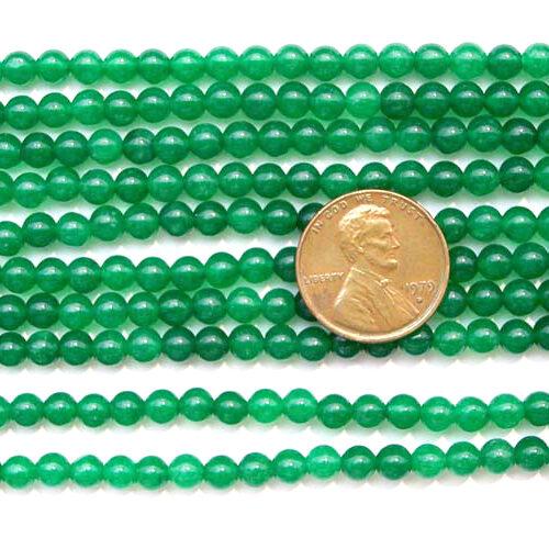 Light Green 4mm Round Jade Beads on Temporary Strand