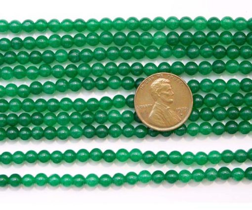 Dark Green 4mm Round Jade Beads on Temporary Strand