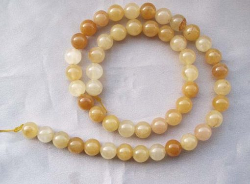 Yellow 8mm Round Jade Beads on Temporary Strand