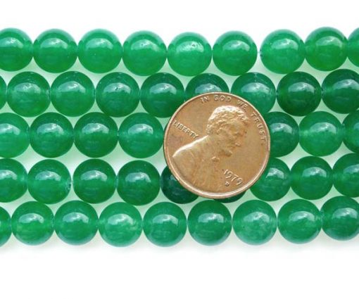 Bright Green 8mm Round Jade Beads on Temporary Strand