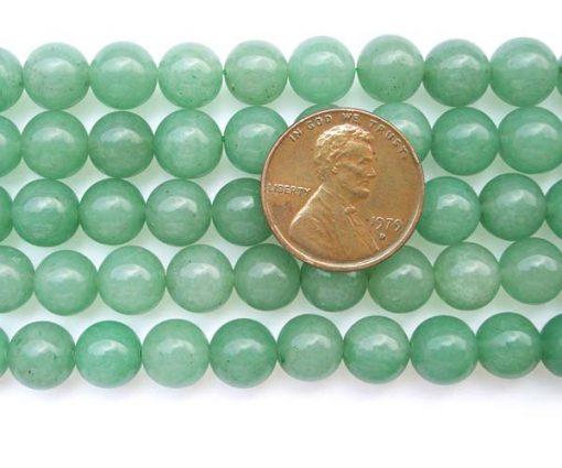 Light Green 8mm Round Jade Beads on Temporary Strand