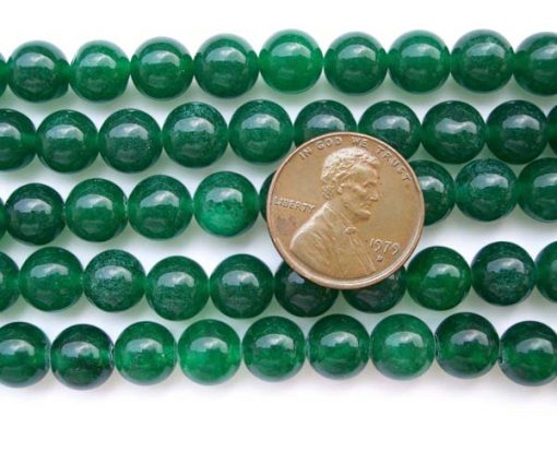 Dark Green 8mm Round Jade Beads on Temporary Strand