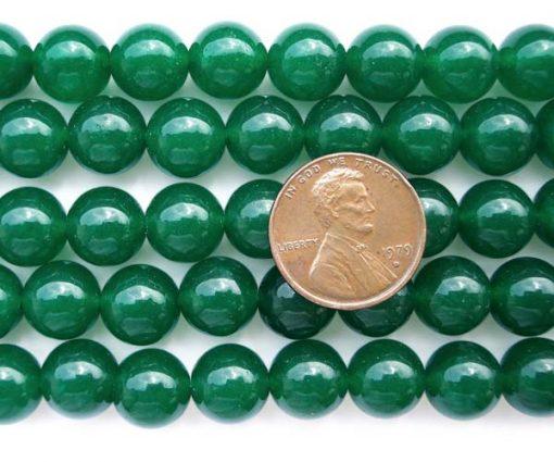 Dark Green 10mm Round Jade on Temporary Strand