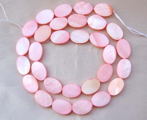 Baby Pink 10X14mm Oval MOP Beads on Temporary Strand