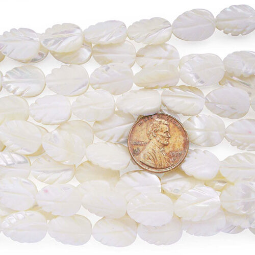 White 12x16mm Leaf Shaped Sea Shell Beads on Temporary Strand
