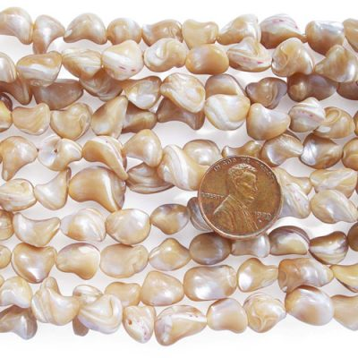 Beige 8-10mm Irregular Sea Shell Beads on Temporary Strand