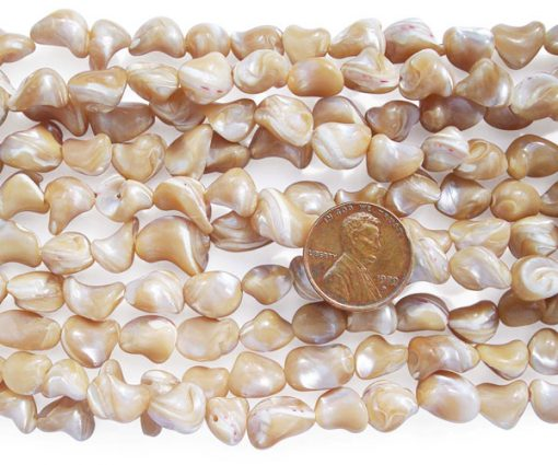 Beige 8-10mm Irregular Sea Shell Beads on Temporary Strand
