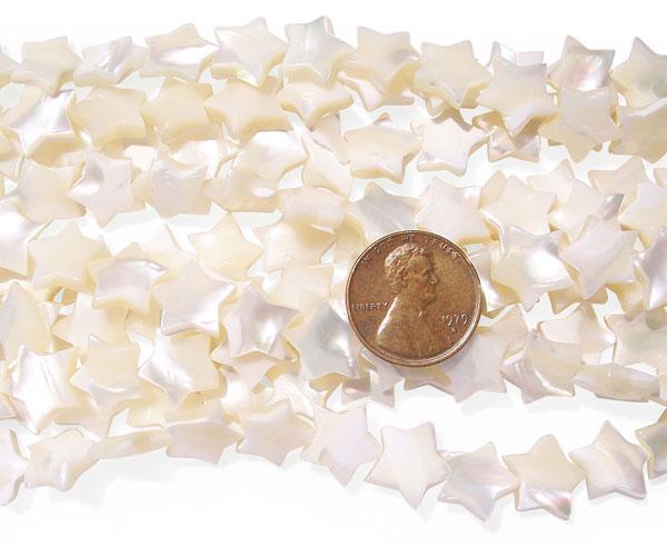 White Star Shaped Sea Shell Beads on Temporary Strand