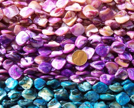 Lavender, Violet and Royal Blue Irregular MOP Strand