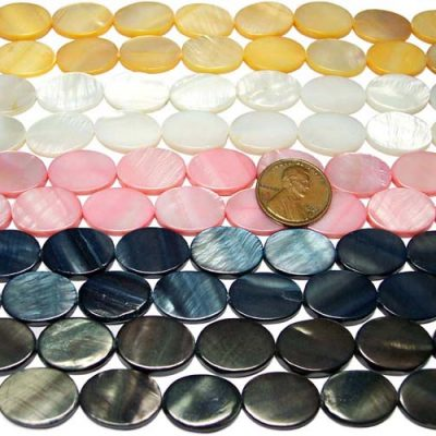 Yellow, White, Baby Pink, Blueish Black and Dark Brown 13X18mm Oval MOP Beads on Temporary Strand