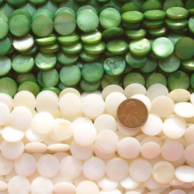 Olive Green and White 14mm Round MOP Strand