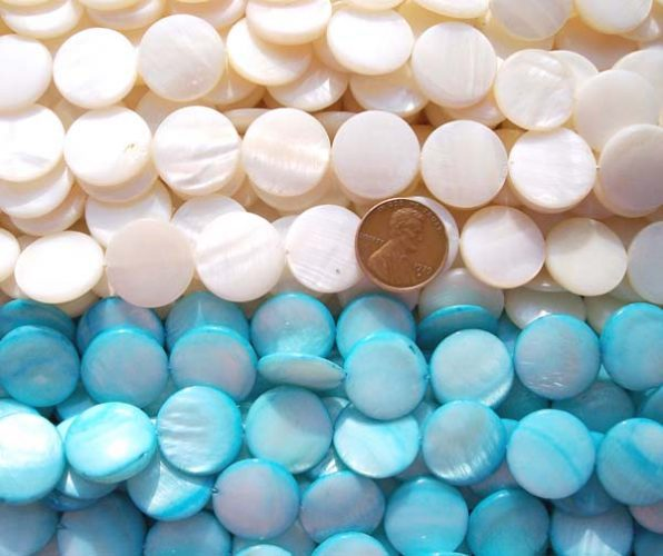 White and Baby Blue 18mm Flat Round MOP Strand