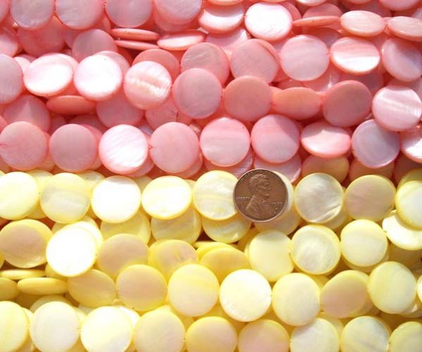 Baby Pink and Light Yellow 18mm Flat Round MOP Strand