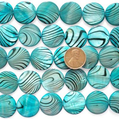 Teal Green 20mm Flat Round MOP Strand with Black Stripes