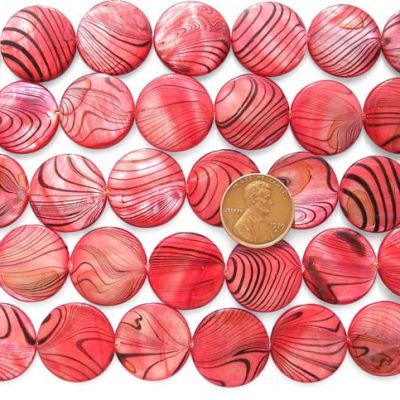 Red 20mm Flat Round MOP Strand with Black Stripes