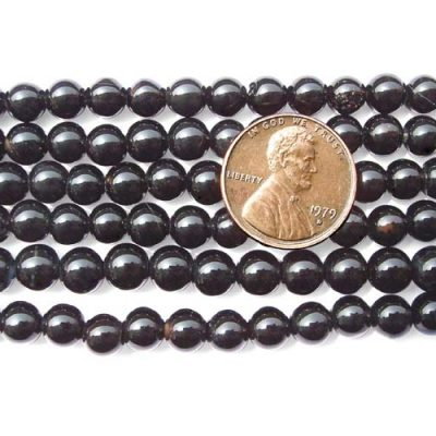 Black 6mm Round Onyx Beads on Temporary Strand