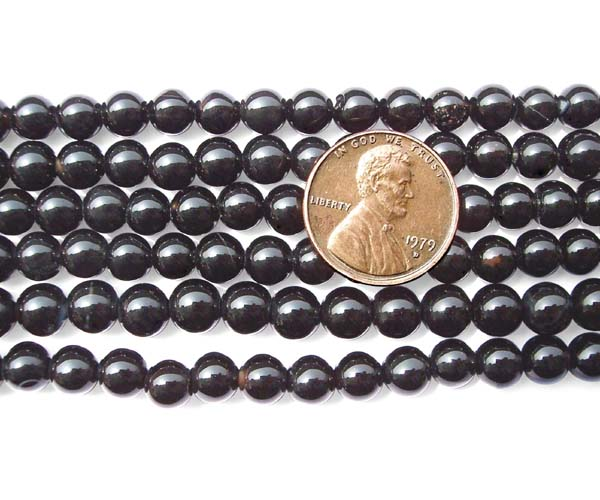 Black 6mm Round Onyx Beads on Temporary Strand