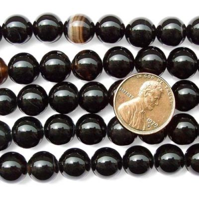 Black 10mm Round Onyx Beads on Temporary Strand