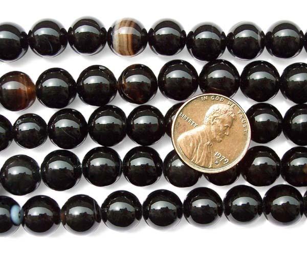 Black 10mm Round Onyx Beads on Temporary Strand