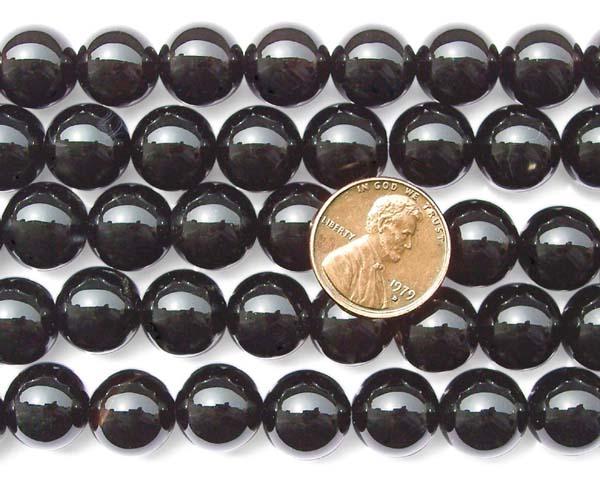 Black 12mm Round Onyx Beads on Temporary Strand