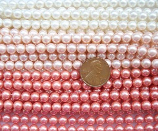 White, Pale Pink and Rose Pink 6mm SSS Pearl Strand