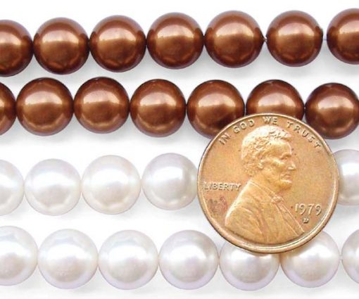 Chocolate and White 8mm SSS Pearl Strands