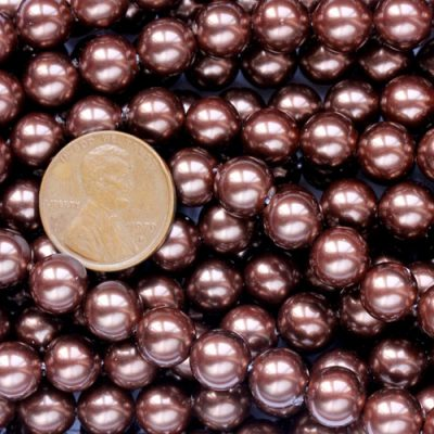 8mm Chocolate Colored Southsea Shell Pearl Strands, 1.3mm Hole