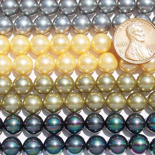 Grey, Yellow, Olive Green, Black 8mm SSS Pearl Strands