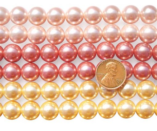 Pale Pink, Rose Pink and Gold 12mm SSS Pearl Strands