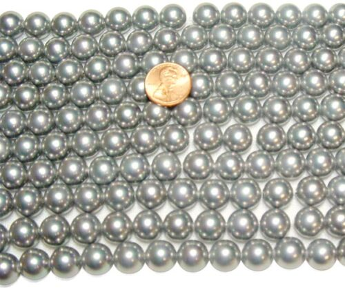 Silver Grey 12mm SSS Pearl Strands, 2mm Holes