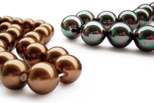 Chocolate and Black 12mm SSS Pearl Strands, 2mm Holes