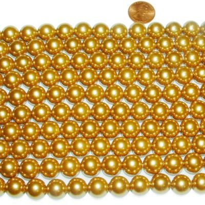 Champagne 12mm SSS Pearl Strands, 2mm Holes