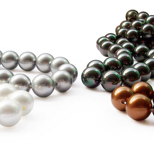 White, Silver Grey, Peacock Black and Chocolate 14mm SSS Pearl Strand, 2mm Holes