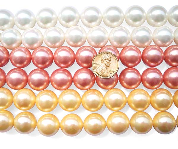 White, Rose Pink and Gold 16mm SSS Pearl Strands