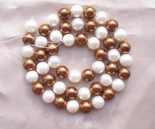8mm White Chocolate Colored Southsea Shell Pearl Strands
